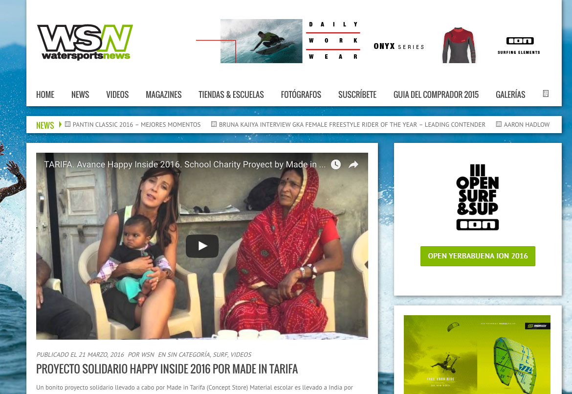 NOTA DE PRENSA PROYECTO SOLIDARIO HAPPY INSIDE WSN MADE IN TARIFA