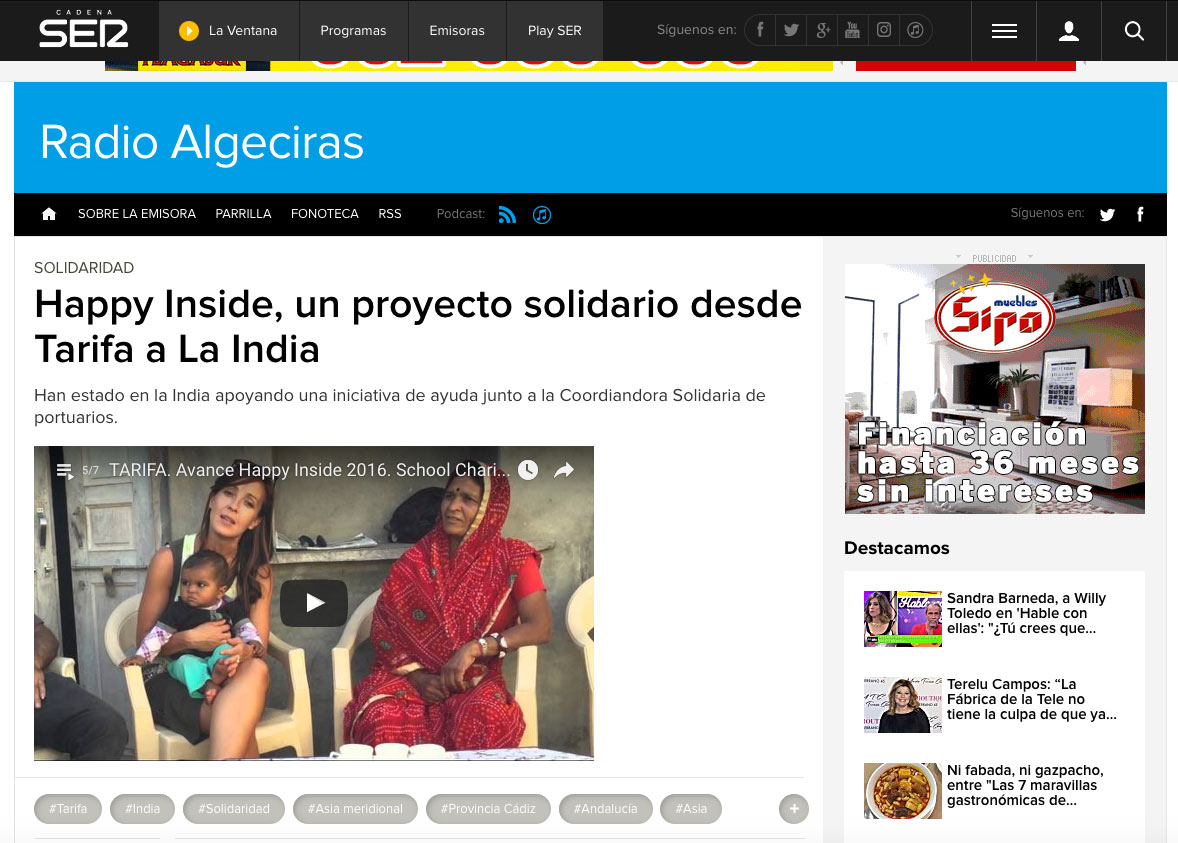 NOTA DE PRENSA RADIO ALGECIRAS CADENA SER HAPPY INSIDE MADE IN TARIFA