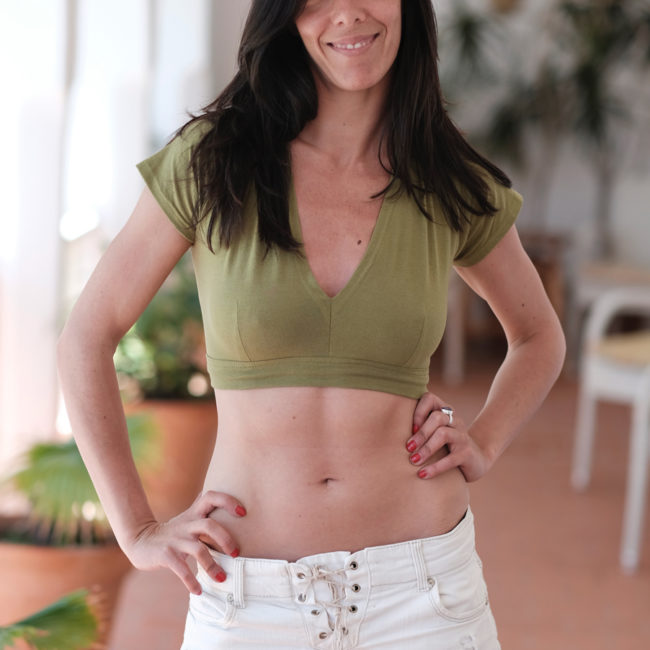 TOP CHOLI MUJER VERDE MADE IN TARIFA
