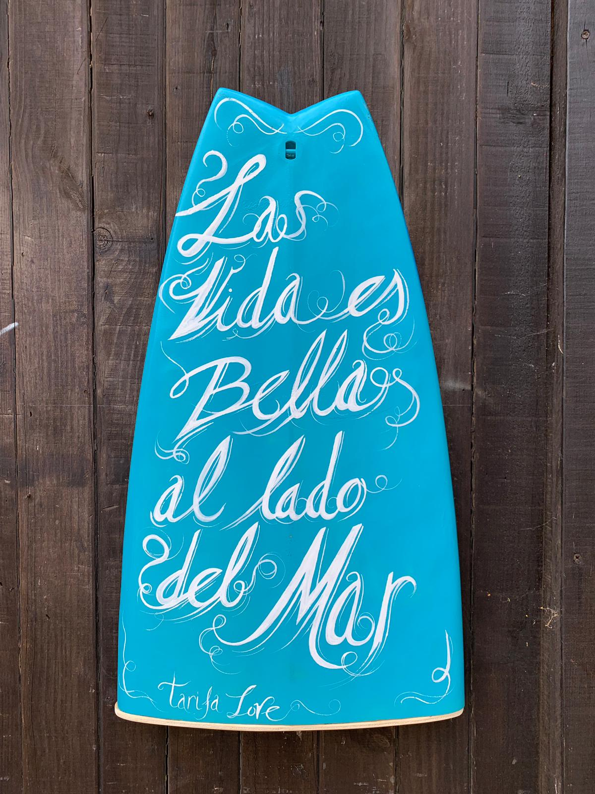 OFERTAS TABLA SURF AZUL RECICLADA TARIFA PLAYA DECORACIÓN